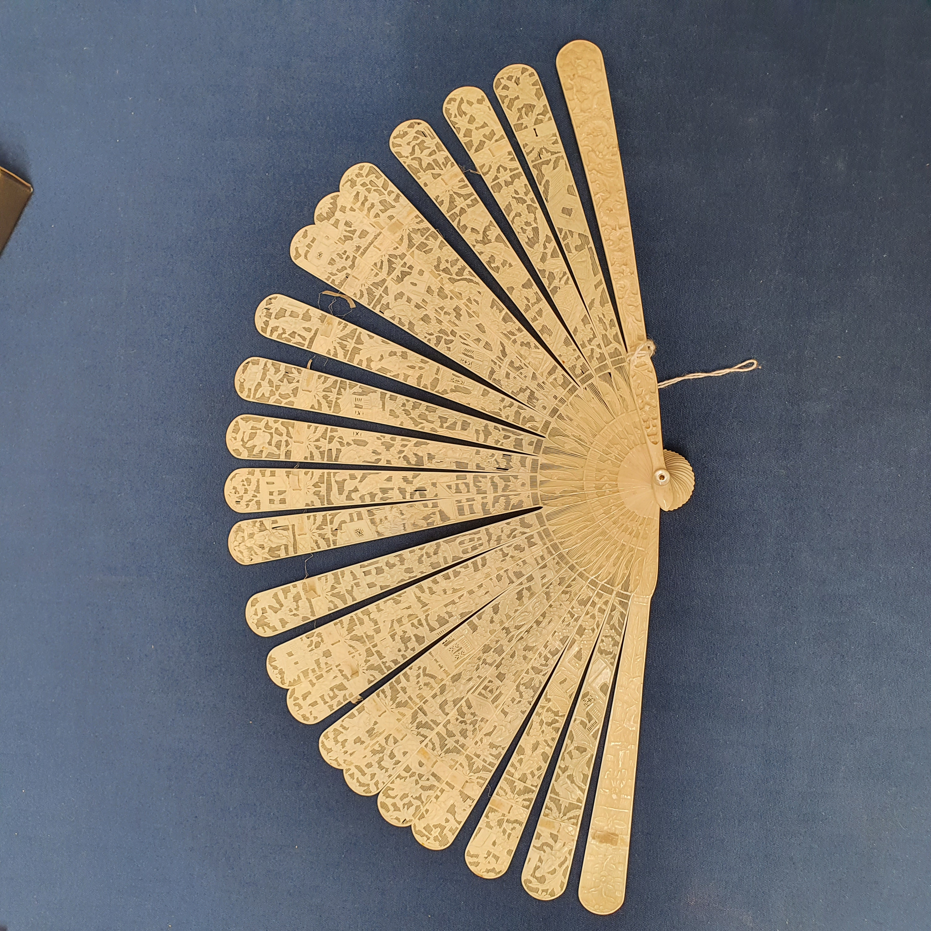 A Chinese ivory brisee fan, two others, and a similar fan with silk embroidered decoration, in a - Image 34 of 47