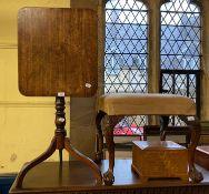 A 19th century mahogany tripod table, 47 cm wide, a mahogany table, a chair and a stool (4)