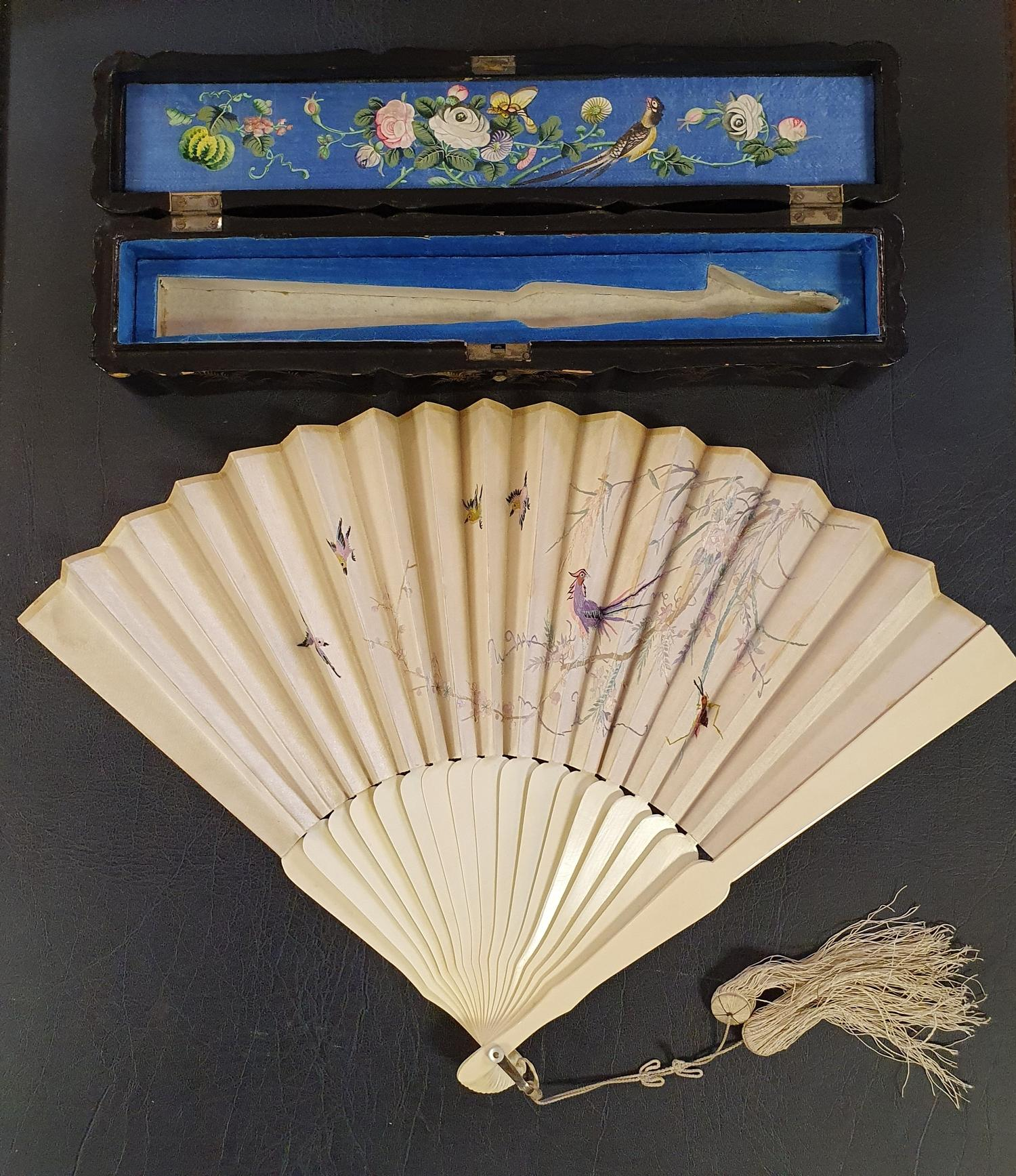 A Chinese ivory brisee fan, two others, and a similar fan with silk embroidered decoration, in a - Image 5 of 47
