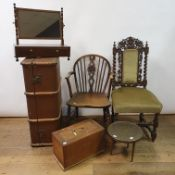 A 19th century mahogany dressing mirror, a trunk, four chairs, a projector, an oval mirror, a