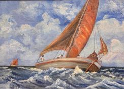 English school, a seascape with a boat and figures, signature indistinct, 64 x 93 cm