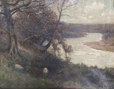 George Graham, a landscape with a river, oil on canvas, signed, 71 x 90 cm