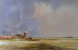 Kenneth Lidd, landscape with a windmill, watercolour, 34 x 52 cm