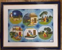 S E Joshi?, Indian school, 20th century, six scenes with figures on blue field, 47 cm x 64 cm