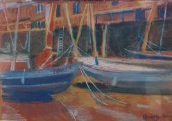 Marie Blake, a harbour scene, pastel, 14 x 19 cm