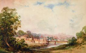 C. Bulgin, riverside town, watercolour, 25 x 41 cm