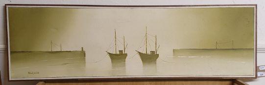 Michael John Hill (1956), a dock scene, oil on canvas, 37 x 122 cm