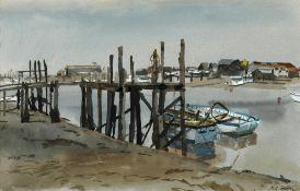 Hubert Andrew Freeth (1912-1986), harbour scene, signed, watercolour, 25 x 40 cm