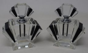 A pair of modern cut glass scent bottles, 12 cm high Report by JS This is a 20th/21st century copy