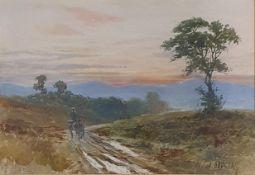J Douglas, landscape with horse and cart, watercolour, signed, 13 x 18 cm