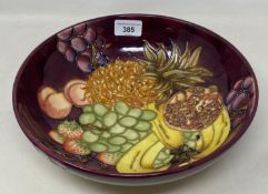 A Moorcroft Collectors' Club pottery bowl, decorated bananas and other fruit, 26.5 cm diameter