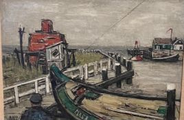 Ginette Rapp ( French 1928-1998), a dock scene, oil on canvas, signed 47 x 44 cm