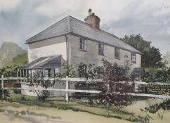 Roland Baron, a house and garden, watercolour, 50 x 68 cm