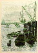 Richard Ford, a dock scene, signed and dated 1967, print, 15/21, 69 x 49 cm
