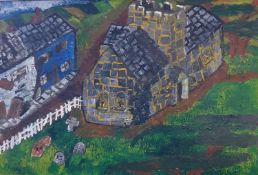 English school, mid 20th century, a church and graveyard, acrylic on board, 54 x 78 and a dock