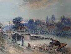 W B Jowett, Sunbury Lock, Surrey, watercolour, signed, titled and dated '09, 34 x 45 cm
