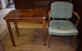 A mid 20th century armchair and a side table, 74 cm wide (2) RB Chair original, wood faded,