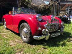 1959 Austin Healey Frogeye Sprite Registration number 502 BDV Cherry red, the interior red piped