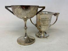 A silver two handle trophy cup, with presentation inscription, Birmingham 1947, 2.8 ozt, 10 cm high,