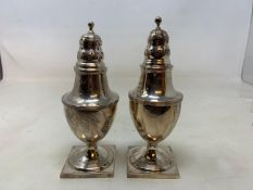 A pair of George III silver sugar casters, of vase form, London 1810, 6.8 ozt, 15.5 cm high (2) v