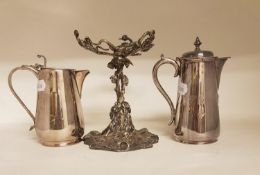 A 19th century silver plated centrepiece base, of naturalistic form, and two silver plated coffee