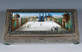 A Persian silver coloured metal and enamel table cigarette box, decorated a mosque and a