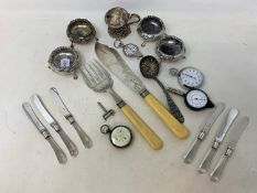 A pair of silver fish servers, Sheffield 1894, a set of 6 tea knives in an Asprey box, a silver
