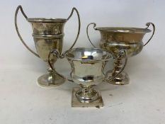 Three silver two handle trophy cups, 8.3 ozt (3)