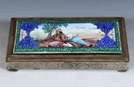 A Persian silver coloured metal and enamel table cigarette box, decorated a reclining figure