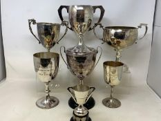 Assorted silver plated trophies and plated items (2 boxes)