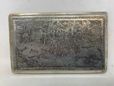 A Persian silver coloured metal cigarette case, decorated figures on horseback hunting lions and