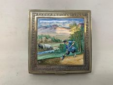 A Persian silver coloured metal cigarette box, decorated a labourer digging, 8.5 cm wide Report by