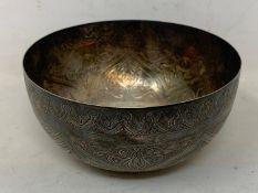A Continental silver coloured metal bowl, engraved foliage, 12 cm diameter