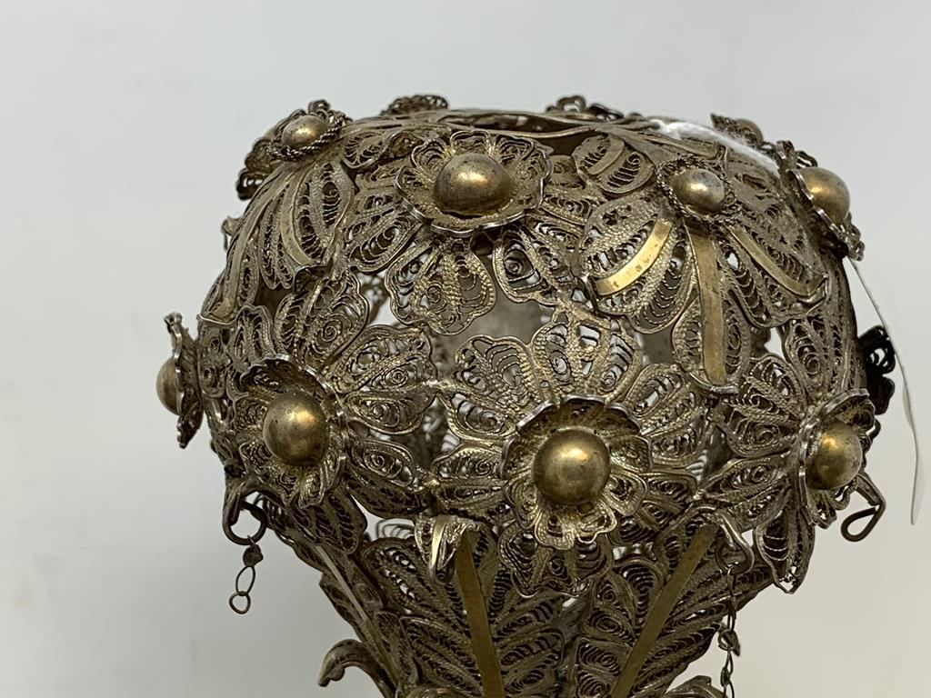 An Indian pair of silver coloured metal filigree work rosewater sprinklers, 34 cm high, and three - Image 6 of 11