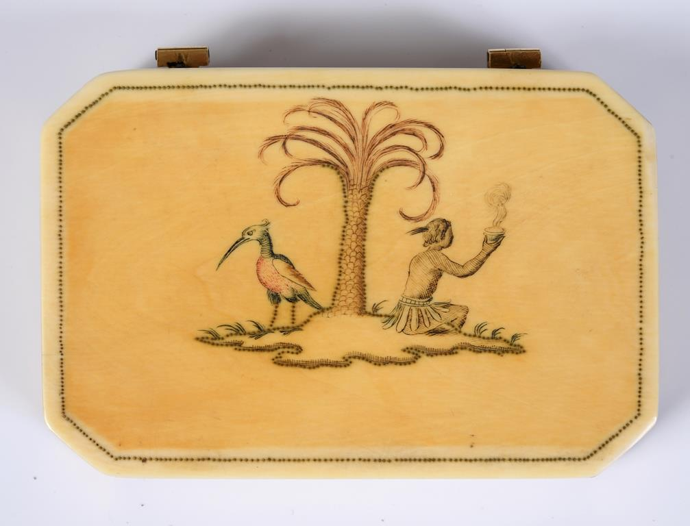 An early/mid 18th century gold mounted ivory snuff box, of rectangular form with canted corners, the - Image 2 of 2