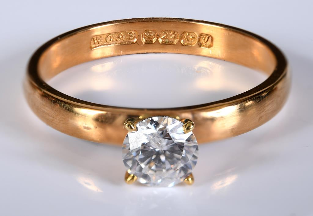 A 22ct gold and diamond solitaire ring, approx. ring size O½ Report by RB Probably adapted from a