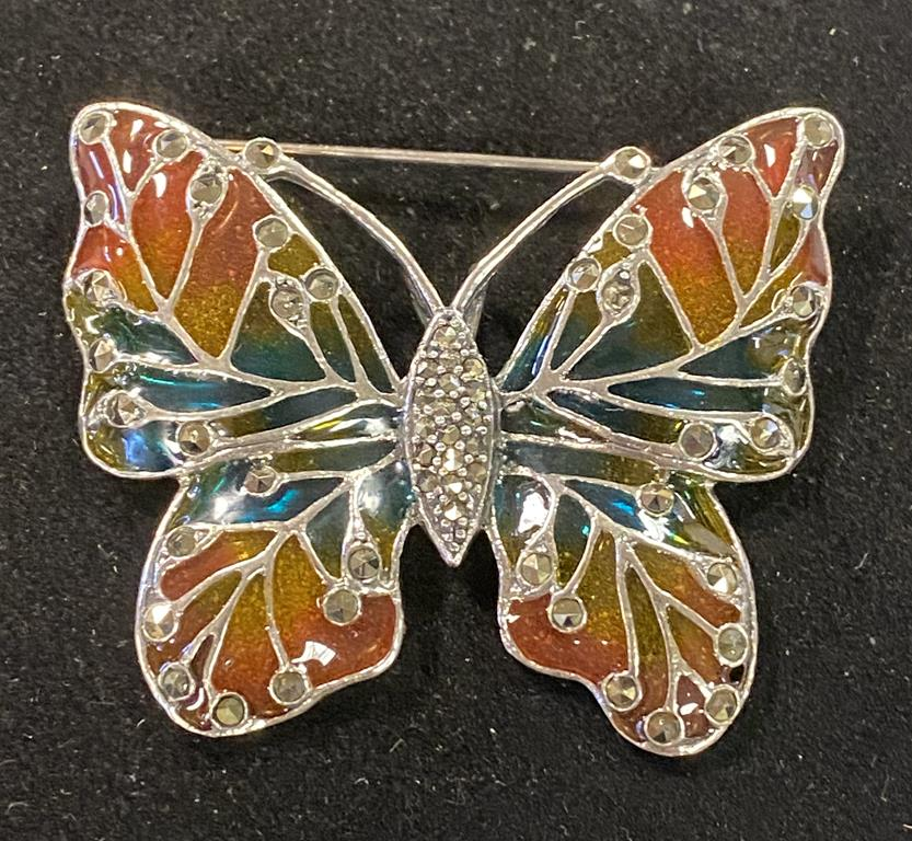A silver butterfly brooch/pendant with marcasite