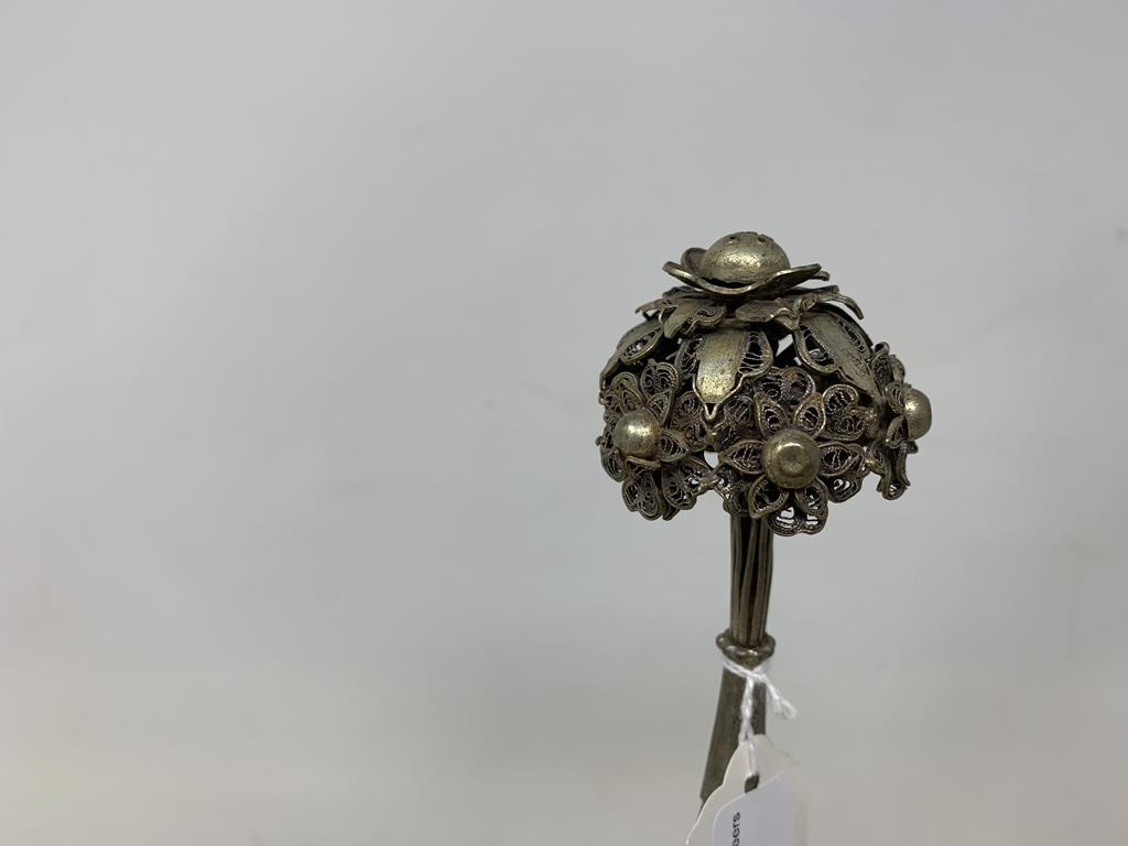 An Indian silver coloured metal rosewater sprinkler, 31 cm high Report by GH Various losses and bent - Image 2 of 4
