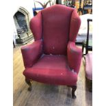 A pair of 18th century style upholstered wing armchairs, on cabriole front legs Report by RB One