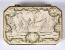 An early/mid 18th century gold mounted ivory snuff box, of rectangular form with canted corners, the