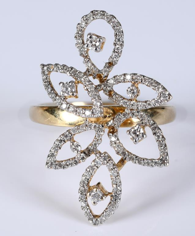 A 14ct gold and diamond flowerhead style ring, approx. ring size N Four small diamonds are missing