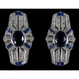 A pair of 9ct gold Art Deco style sapphire and diamond earrings Report by RB Modern
