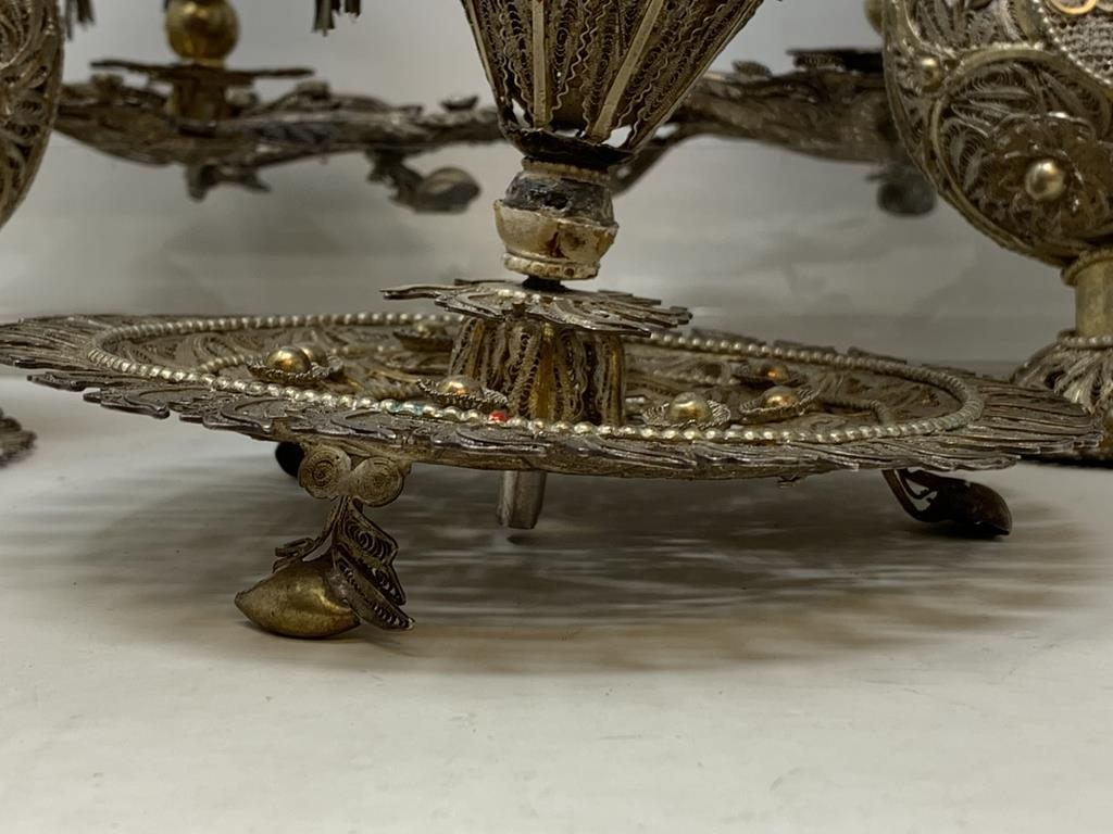 An Indian pair of silver coloured metal filigree work rosewater sprinklers, 34 cm high, and three - Image 9 of 11