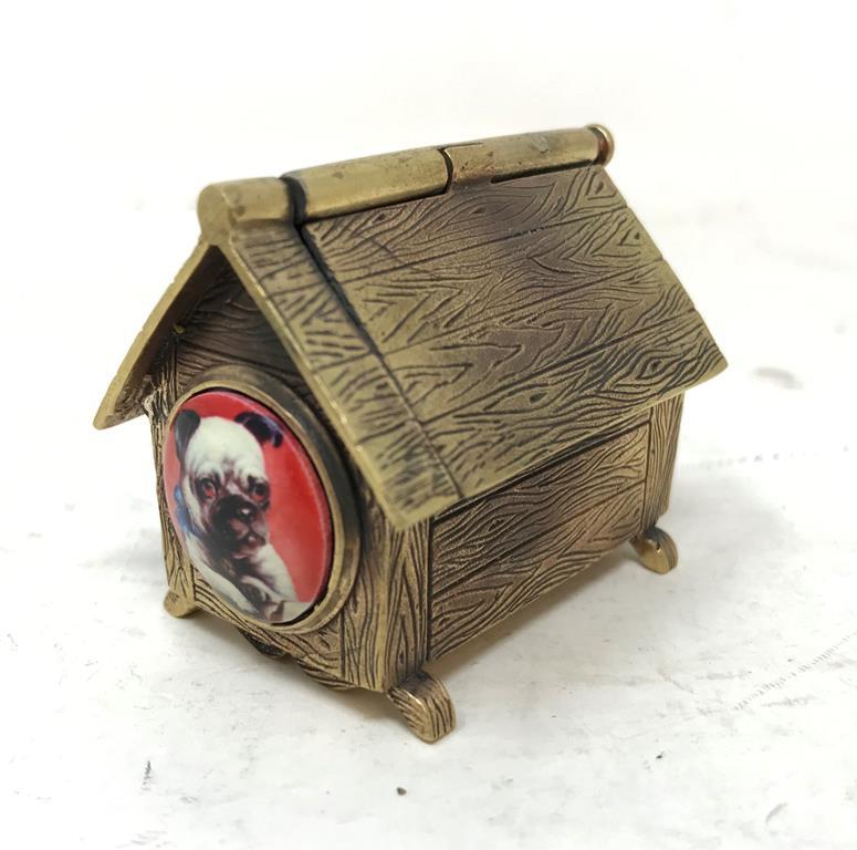 A novelty brass and enamel Pug dog kennel vesta Report by RB Modern