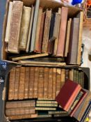 Assorted leather bindings, and other volumes (2 boxes)