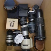 A Steinheil camera lens and various other camera lenses (box) Provenance: Part of a vast single