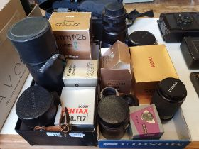 An Alto Welblick camera lens and various other camera lenses (2 boxes) Provenance: Part of a vast