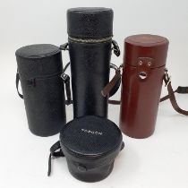A Carl Zeiss Jena camera lens, in leather outer case, and three other camera lenses (box)