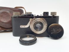 A Leica I camera, serial number 46523, with leather outer case Provenance: Part of a vast single