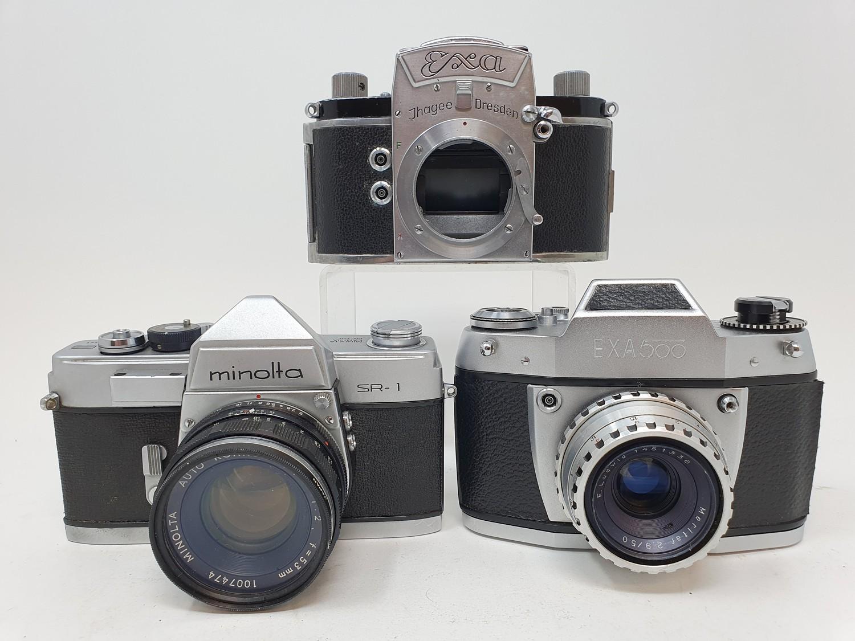 An Exa Thagee camera, lacking lens, an Exa 500 camera, and a Minolta SR - 1 (3) Provenance: Part